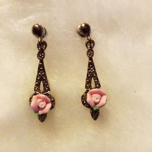 Vintage Ceramic Rose Drop Pierced Earrings